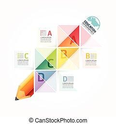 astratto, sagoma, numerato, usato, linee, infographics, disegno, /, vettore, sito web, disinserimento, matita, bandiere, infographic, orizzontale, grafico, minimo, stile, essere, disposizione, o, lattina