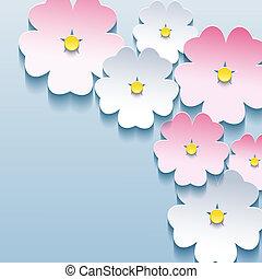 astratto, sakura, fondo, floreale, elegante, fiori, 3d
