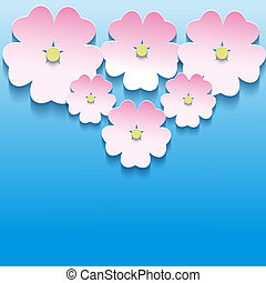astratto, sakura, fondo, floreale, fiori, 3d