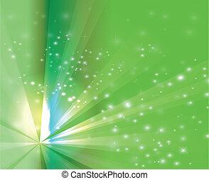 astratto, scoppio verde, raggi luminosi