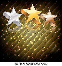 astratto, scuro, fondo., vettore, bronzo, stelle, argento, dorato