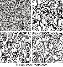 astratto, seamless, mano, modelli, vettore, monocromatico, disegnato
