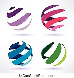 astratto, set, 3d, globo, icone