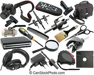astratto, set, nero, oggetti