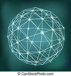 astratto, sfera, ardendo, punti, geometrico, composizione