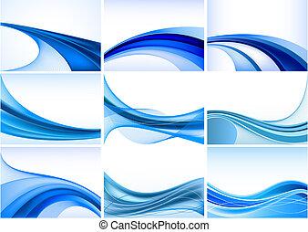 astratto, sfondo blu, set, vettore