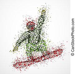 astratto, snowboarder