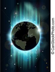 astratto, spazio, globo, mondo, backgrou