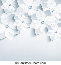 astratto, stilizzato, fondo, sakura, floreale, fiori, 3d