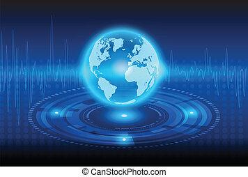 astratto, tecnologia, globalizzazione, fondo, meccanico