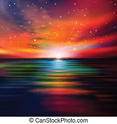 astratto, tramonto, fondo, mare
