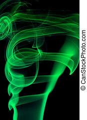 astratto, verde, fumo