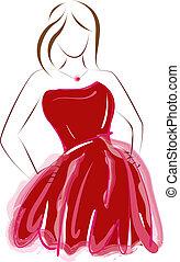 astratto, vestire, ragazza, rosso