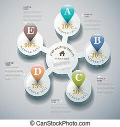 astratto, vettore, 3d, infographics