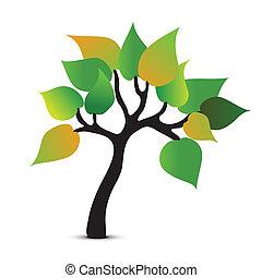 astratto, vettore, albero, simbolo., icona