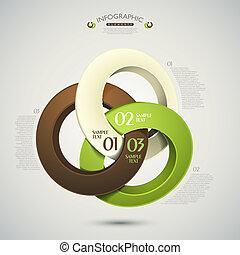 astratto, vettore, anelli, 3d, infographics