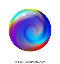 astratto, vettore, dentro, illustrazione, palla vetro, spirale, cristallo, sfera, 3d, forma