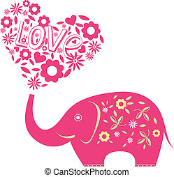 astratto, vettore, illustrazione, elefante