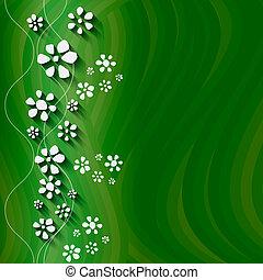 astratto, vettore, sfondo verde, onde, floreale