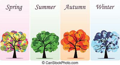 astratto, vettore, stagionale, albero