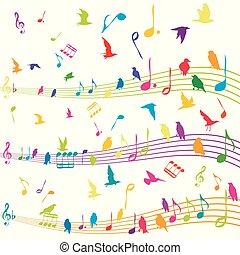 astratto, volare, nota, silhouette, musica, uccelli