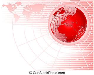 astratto, wiremesh, globo, fondo, rosso