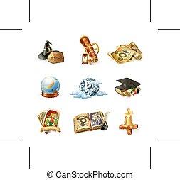 astrologia, vettore, icone