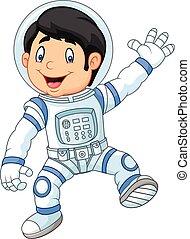 astronau, poco, cartone animato, ragazzo, il portare