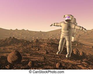 astronauta, 3d, -, render, marte