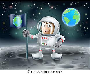 astronauta, cartone animato, luna