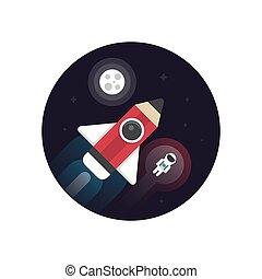 astronauta, razzo, matita