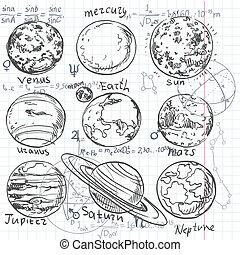 astronomia, scarabocchiare, pianeti, fondo, sistema, formula, solare