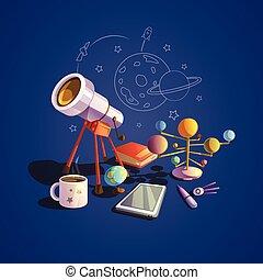 astronomia, set, cartone animato