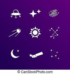 astronomia, set, icona