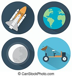 astronomia, set, icone