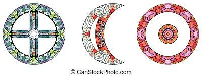 astronomico, segni, sole, icons., oroscopo, astrologia, occulto, magia, concetto, segni, simboli, terra, design., luna