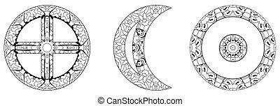 astronomico, segni, sole, icons., oroscopo, magia, segni, simboli, terra, luna, coloring.