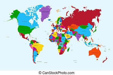 atlante, colorito, mappa, file., eps10, vettore, mondo, paesi