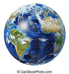 atlantico, vista., oceano, globo, 3d, illustration., terra