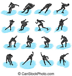 atleta, set, grunge, silhouette, pattinando