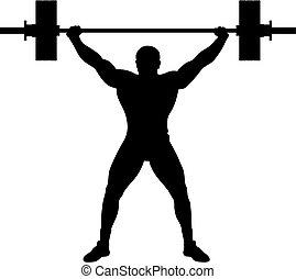 atleta, sollevatore, peso