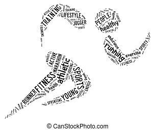 atletico, correndo, sfondo bianco, pictogram