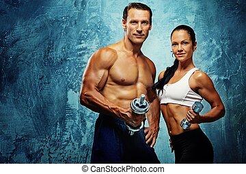 atletico, donna, dumbells., uomo