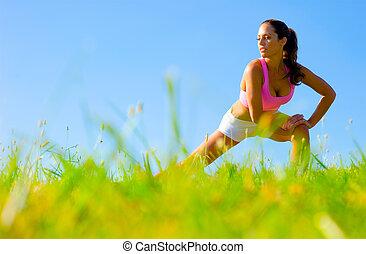 atletico, donna, esercitarsi