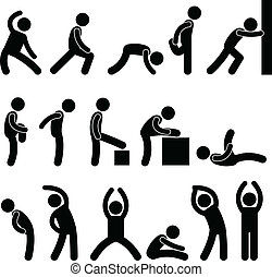 atletico, estensione, esercizio, persone