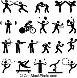 atletico, gioco, interno, sport, icona
