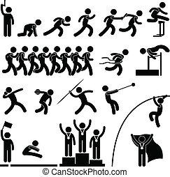 atletico, pista, gioco, sport, campo