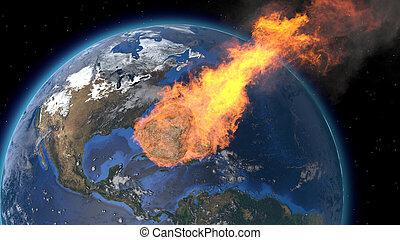 atmosphere., questo, asteroide, ammobiliato, rendering., tail., immagine, impatto, meteora, cometa, rain., kameta, fine, world., nasa., meteorite, earth., 3d, elementi, bagliori, asteroide, entra, earth's