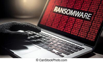 attacco, hacker, mano, laptop, ransomware, schermo