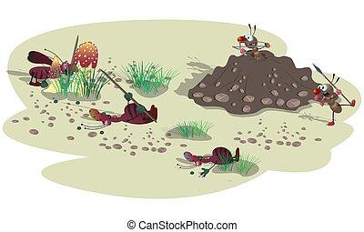 attacco, piccolo, strisce, anthill., cartone animato, scarafaggi, male, illustration., fight., scena, formiche